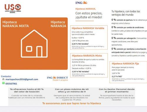 Afiliados USO: Oferta hipoteca con cero comisiones
